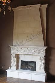 Light Gray Limestone Fireplace With TV Niche  Transitional Limestone Fireplace Mantels