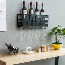 wall mounted metal wine rack 4 long stem glass holder wine cork storage in wine racks from home garden on aliexpress com alibaba group