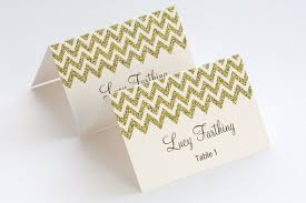Gold Place Card Template Chevron Name Cards Diy Etsy