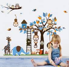 regenboghorn jungle zoo meeting on a tree owl monkey wall decal for kids nursery room