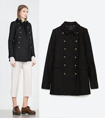zara woman short military wool coat gold ons jacket black size medium m new