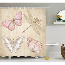 vintage shower curtains. vintage shower curtain, butterflies bugs old collector image on abstract retro backdrop art, fabric curtains 3
