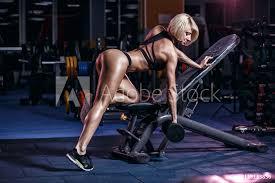 Fotografie Obraz Sexy Hot Blonde Fitness Bikini Girl Workout With