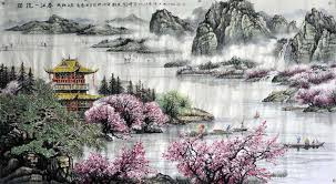 chinese landscape painting exclusive spring river landscape