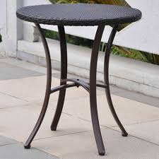 international caravan barcelona resin wicker aluminum 28 inch round table chocolate