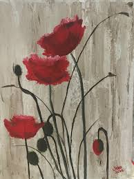 poppy flower field canvas art acrylic painting