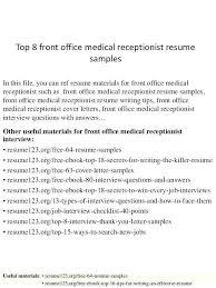 Receptionist Resume Sample Mesmerizing Medical Office Receptionist Resume New Medical Receptionist Job