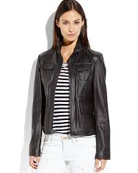 kenneth cole black six pocket leather jacket women s clothing accessories century 21 department
