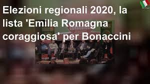 Elezioni regionali 2020, la lista 'Emilia Romagna coraggiosa' per Bonaccini