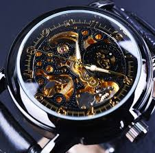 aliexpress com buy orkina luxury clock men leather skeleton orkina luxury clock men leather skeleton watch classic retro black golden dial relogio male masculino mechanical
