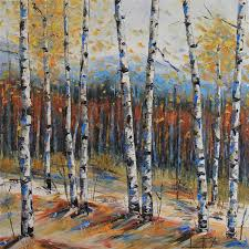 original art for at ugallery com birch trees of fall by lisa elley