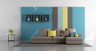 Minimalist Living Room With Colorful Wall And Modern Sofa 3d