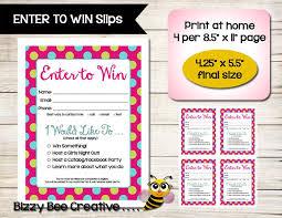 Enter To Win Door Prize Slip Raffle Ticket Drawing