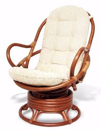 java handmade design rattan wicker swivel rocking chair with thick cushion sknewinteriors tropical