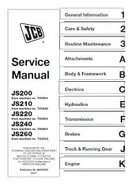Jcb Js200 Js210 Js220 Js220 Js240 Js260 Tracked