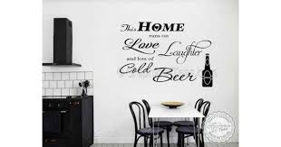this home runs on beer kitchen wall