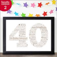 40th wedding anniversary gifts ruby wedding 40 years personalised presents
