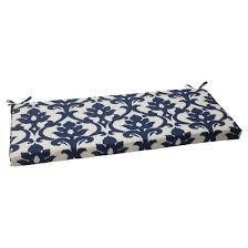 Outdoor Bench Cushion Blue White Damask Tar
