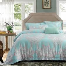 luxurious tiffany blue pink and gray paisley and gothic bohemian pattern royal style full queen size bedding sets
