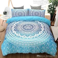 blue king size duvet cover bohemian bedding sets mandala printing black white single double queen set