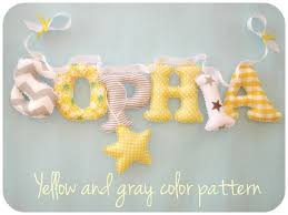fabric letters name banner yellow and