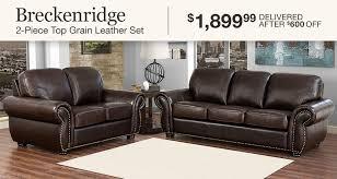 living room furniture sets. Breckenridge 2-Piece Top Grain Leather Set $1,899.99 Delivered After  $600 OFF Living Room Furniture Sets T