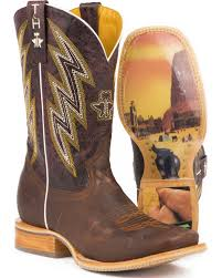 zoomed image tin haul men s slinger oily brown leather cowboy boots square toe brown hi