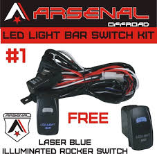 arsenal offroad tm 40 amp relay 30amp fuse laser blue led light arsenal offroad tm 40 amp relay 30amp fuse laser blue led light bar spst on off rocker switch wiring harness kits great for utv suv off road boats jeeps