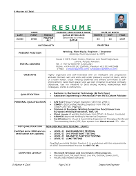 Ndt Inspector Resume Examples Sample Cv Templates Yun56 Co Best