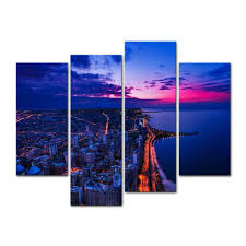 amazon canvas print wall art painting for home decor chicago skyline blue sky in sunset cloud downtown aerial view at dusk with skyscrapers and city  on 4 piece wall artwork with amazon canvas print wall art painting for home decor chicago