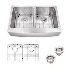 Farmhouse Apron Kitchen Sinks Soleil 32875 X 2075 Farmhouse Apron Kitchen Sink With Grid Set