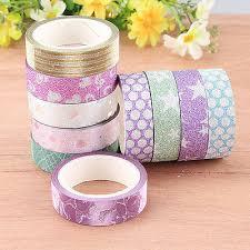 <b>10PCS</b> DIY Self Adhesive <b>Glitter Washi Masking Tape</b> Sticker Craft ...