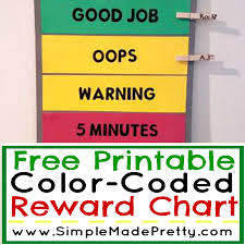 Color Behavior Chart Printable Free Printable Color Coded Reward Chart Simple Made Pretty