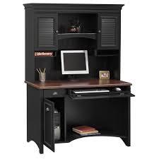 bush furniture stanford antique black with hansen cherry accent computer desk and hutch
