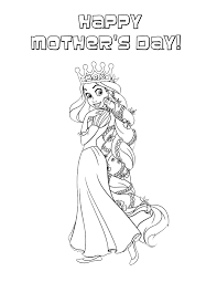 Small Picture Rapunzel Wears Mothers Day Crown Coloring Page H M Coloring Pages