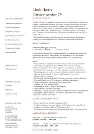 company secretary CV sample, Job description and activities, company  secretaries, resume