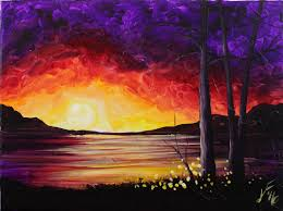 Canvas Painting Summer Sunset At The Lake Step By Step Acrylic Painting On Canvas