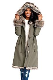 olive hooded faux fur lined knee length coat 1