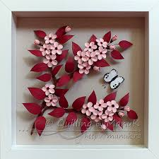 Paper Quilling Flower Frames Quilled Cherry Plum Blossom In A Shadobox Frame Quilling By Manuk