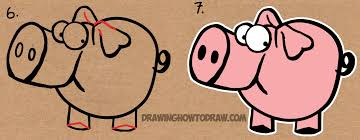 drawing cartoon pig with the word pig