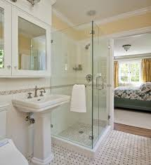 impressive classic bathroom in bedroom with corner glass shower room