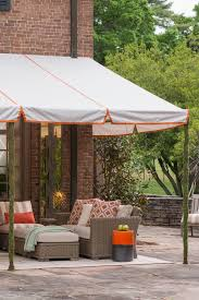 fabric patio shades. Fine Patio Patio Coved With A Fixed Frame Awning White Sunbrella Fabric And  Orange Detailing With Fabric Shades