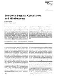 Emotional Seesaw, Compliance, And Mind I Ess Ness