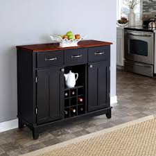 home styles black and cherry buffet with wine storage 5100 0042 the home depot