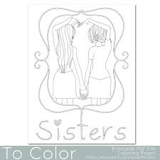 Small Picture This coloring page features two girls holding hands to make a