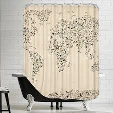 Americanflat Polyester Music Map Shower Curtain | AllModern