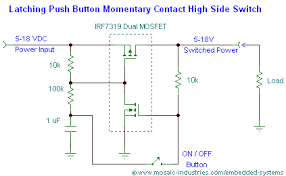 push button on off soft latch circuits battery powered touch circuit schematic of a push on push off dual mosfet latching high side power switch