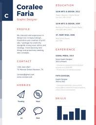 Navy Blue And Red Simple Graphic Designer Resume Templates By Canva