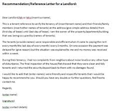 re mendation letter landlord