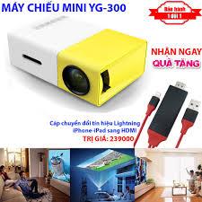 TẶNG NGAY] Cáp chuyển tín hiệu Lightning ra HDMI khi mua Máy chiếu Mini cho  điện thoại YG-300 hỗ trợ độ phân giải lên đến 1920 x 1080 pixel